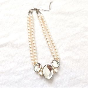Layered Faux Pearl Bead Crystal Statement Necklace
